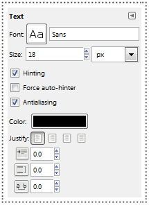 gimp text toolbar command