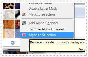 set the layer as alpha to selection