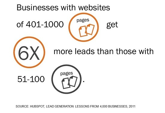websites that has 401-1000 pages gets 6 times more leads than the sites that have 51-100 pages