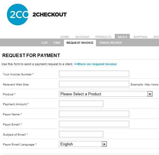 2checkout request invoice