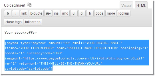 paypal shortcode, button code