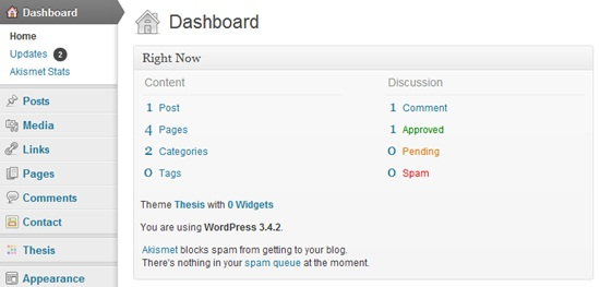 wordpress dashboard looks like this