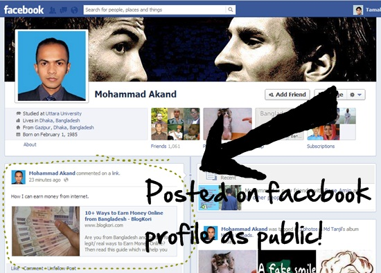 facebook comments posts on facebook profile