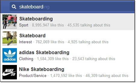 skateboarding search in facebook