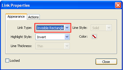 select invisible rectangle for adobe acrobat