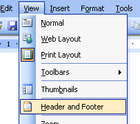 header & footer in MS word for your ebook