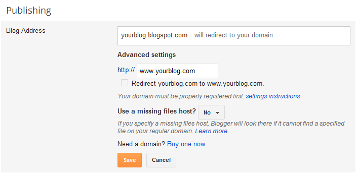 setup a domain name in blogger