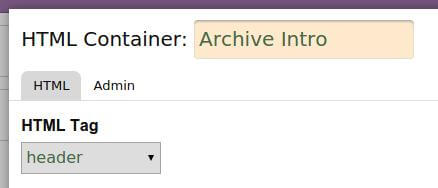 archive intro in header tag