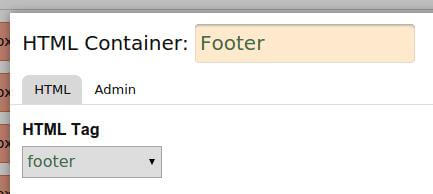 footer area in footer tag