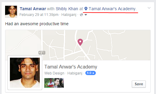 facebook local business check-ins at tamal anwars academy